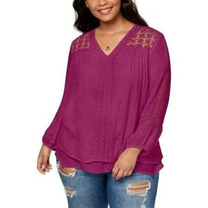 Style & Co Tops - Style & Co. Women's Layered 3/4 Sleeves V-Neck Top